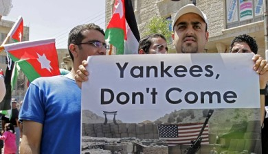 Jordanians torch U.S. flag in anti-U.S. protest